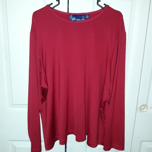 Susan Graver Tops - Susan Graver Style Long Sleeve Blouse Dark Red